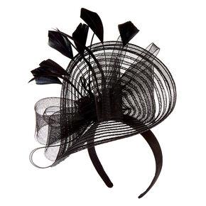 Large Feather Bow Hatinator Headband - Black,