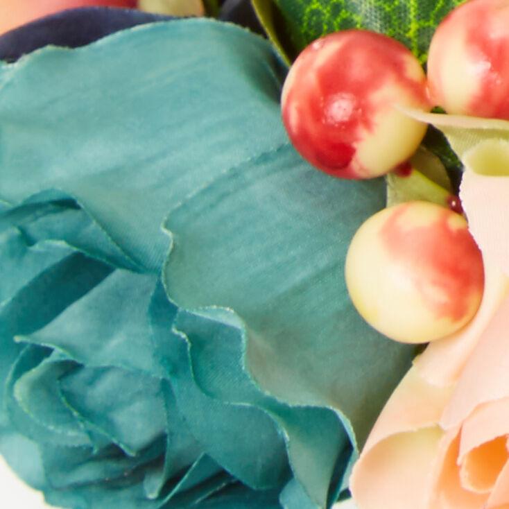 Mixed Flower Crown Headwrap - Peach,