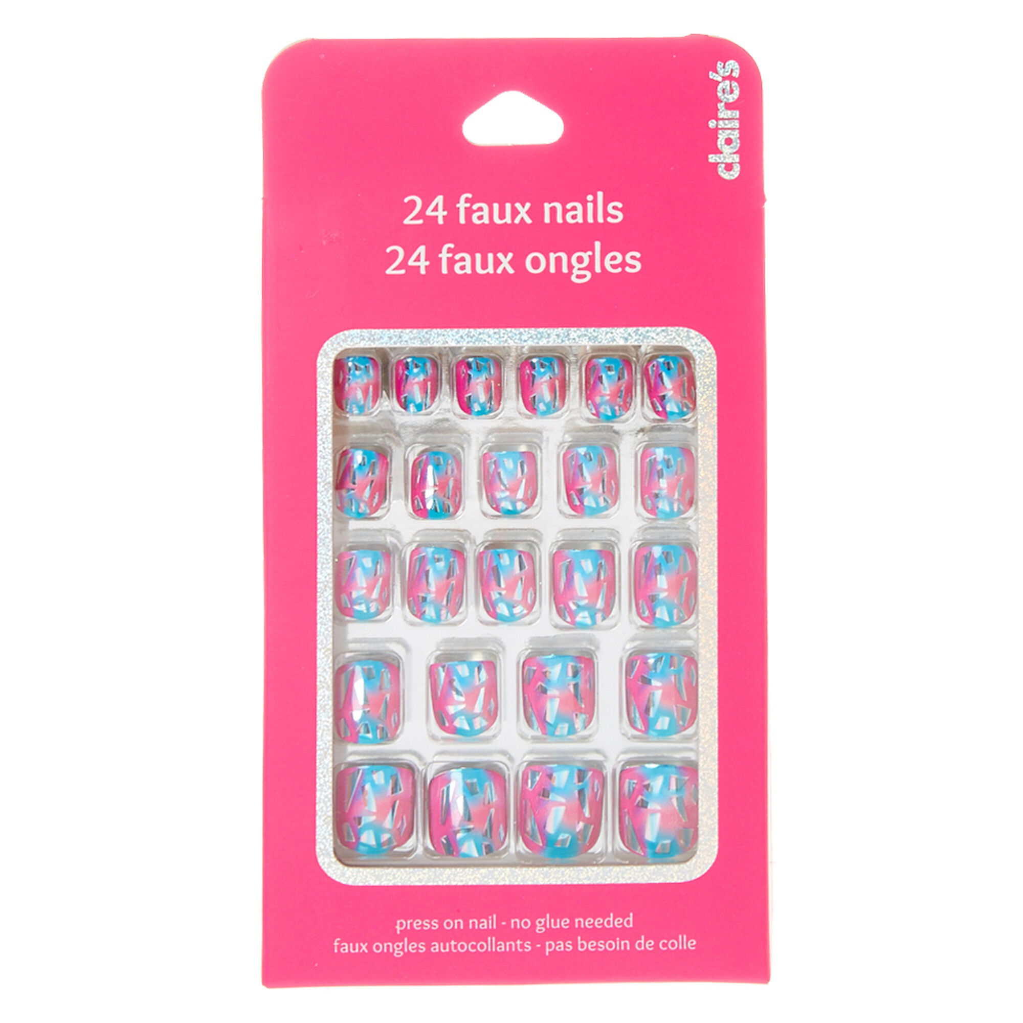 Pink & Blue Shattered False Nails | Claire\'s