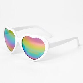 Claire's Club Rainbow Heart Sunglasses - White,