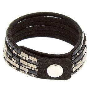 Hematite Studded Layered Wrap Bracelet,