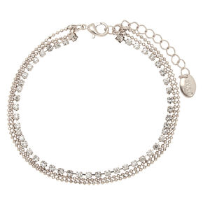 Studded Beaded Multi Layered Anklet - Silver,