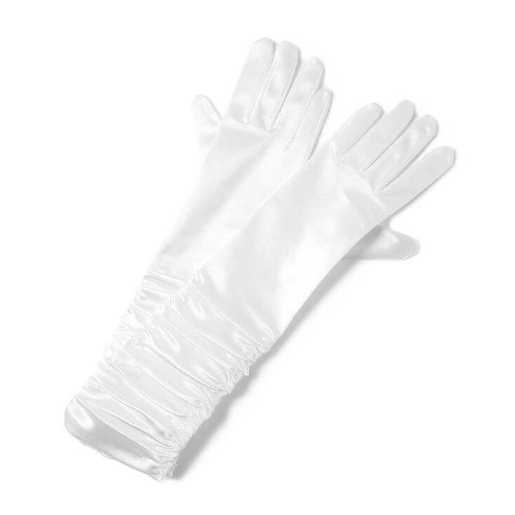 Long White Satin Ruched Gloves,