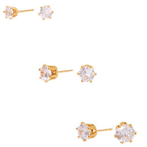 18kt Gold Plated Cubic Zirconia Medium Graduated Round Stud Earrings - 3 Pack,