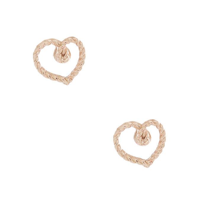 Clous d'oreille cœur style corde couleur doré rose,
