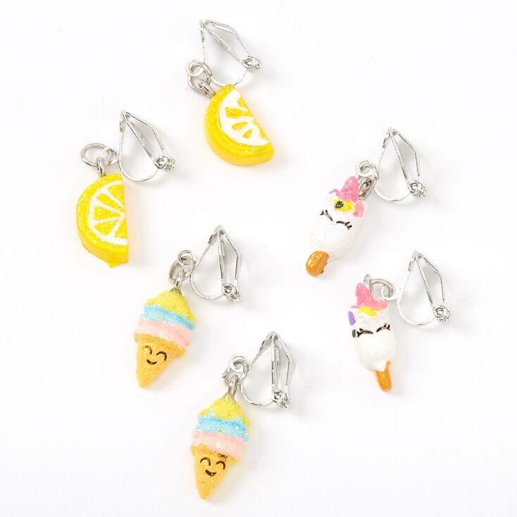 Silver Glitter Popsicle Ice Cream Clip On Earrings - 3 Pack,