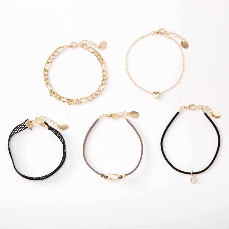Gold Fishnet Chain Mixed Bracelets - 5 Pack,