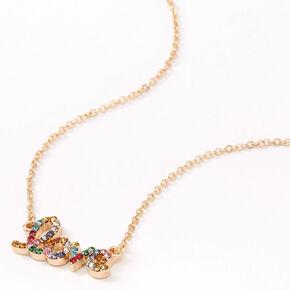 Gold Rainbow Love Pendant Necklace,