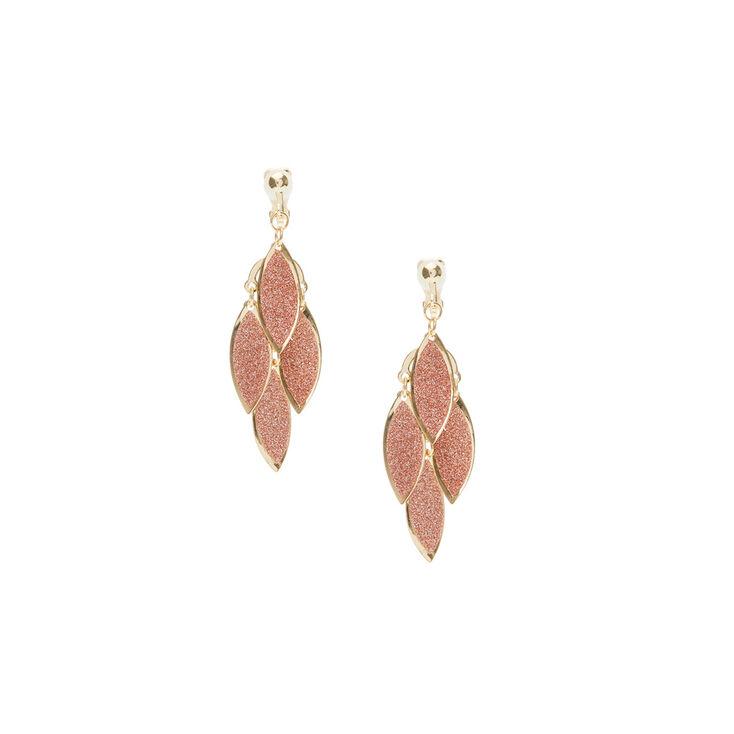 Clip On Gold Glitter Leaf Drop Earrings,