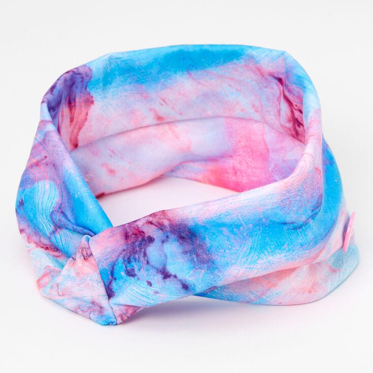 Blue & Purple Marble Print Button Headwrap,