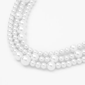 Triple Row Bubble Pearl Statement Necklace,