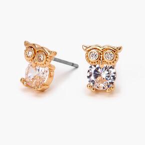 Gold Cubic Zirconia Owl Stud Earrings - 5MM,