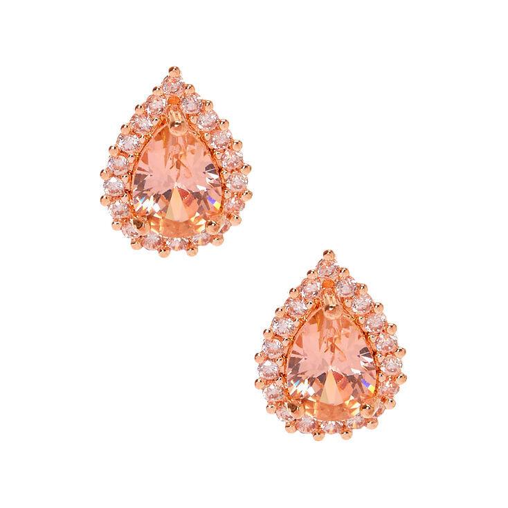 Rose Gold Cubic Zirconia Halo Teardrop Stud Earrings - 6MM,