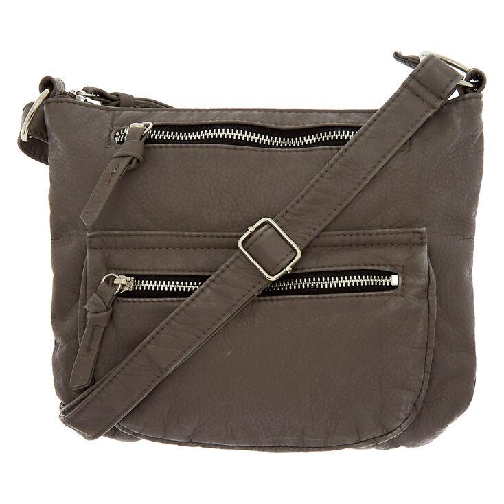 Faux Leather Crossbody Bag - Grey,