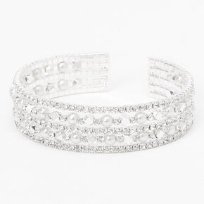 Pearl & Rhinestone Five Row Cuff Bracelet - Silver,