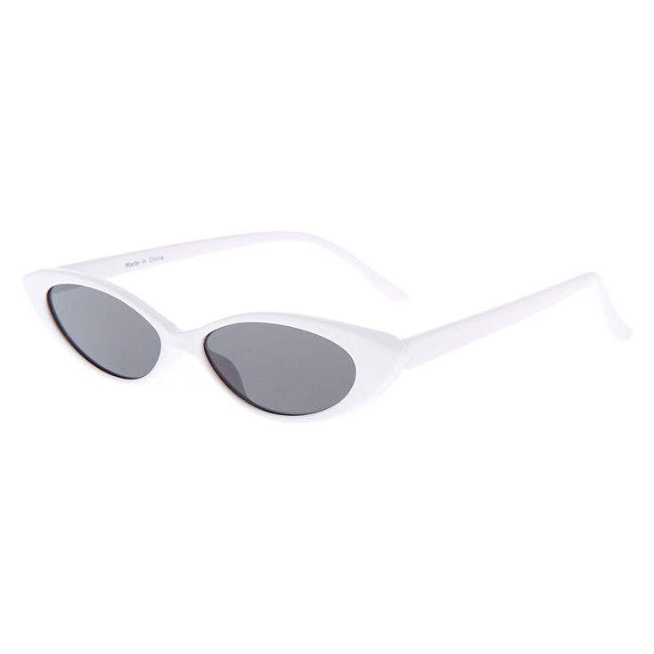 39c12b6ba572fe Slim Cat Eye Sunglasses - White