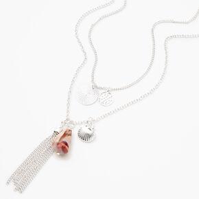 Silver Seashells Long Multi Strand Necklace,