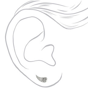 Clous d'oreilles aile avec strass couleur argentée,