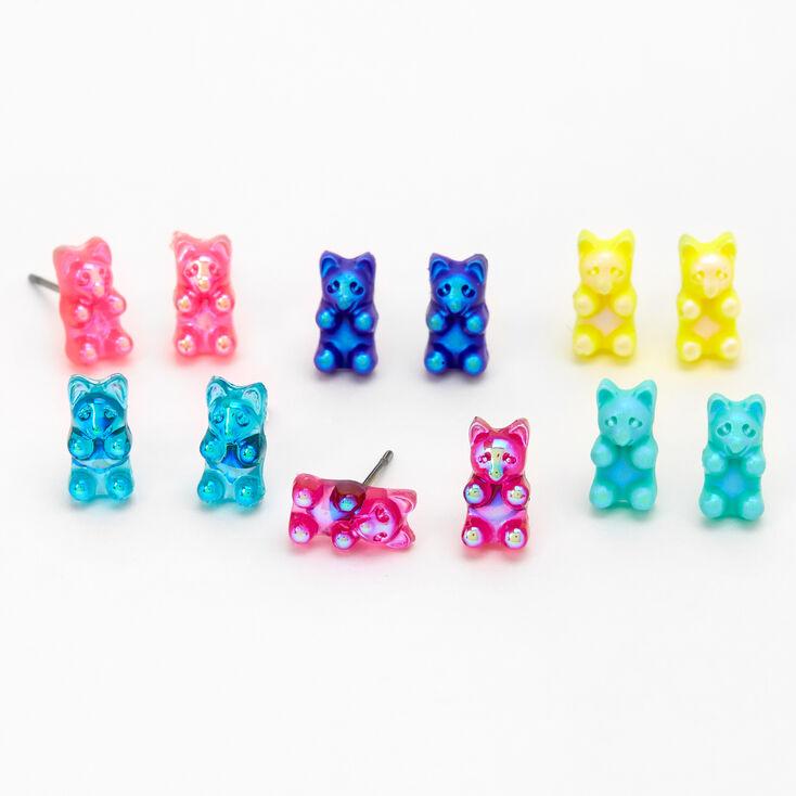 Holographic Gummy Bear Stud Earrings - 6 Pack,