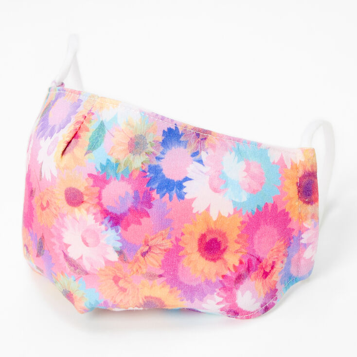 Cotton Rainbow Daisies Face Mask - Adult,
