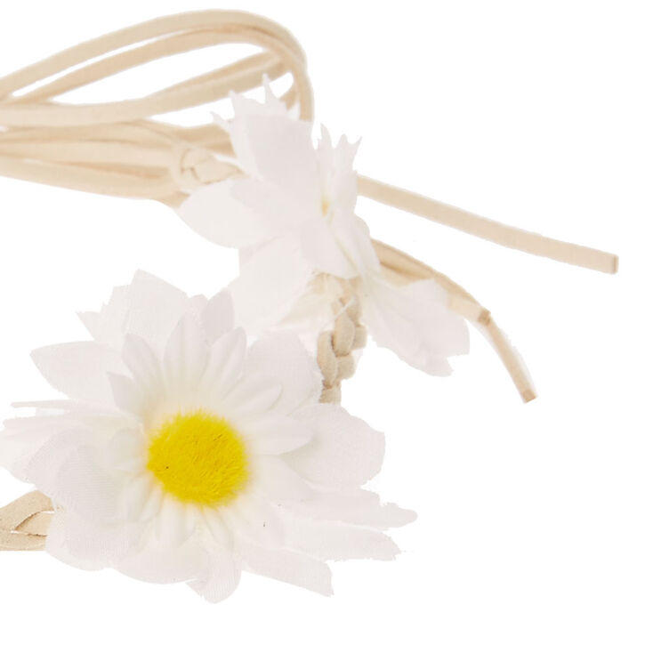 Daisy Braided Tie Headwrap - White,