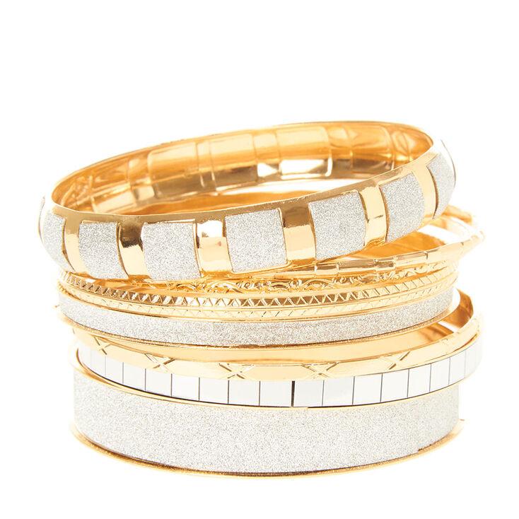 Silver Glitter & Gold Bangle Bracelets,