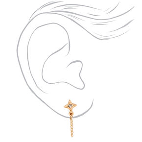Gold Crystal Crescent Moon Chain Stud Earrings,