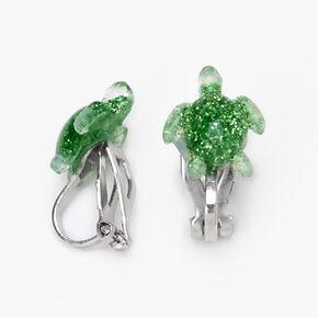 Glitter Sea Turtle Clip-On Stud Earrings - Green,
