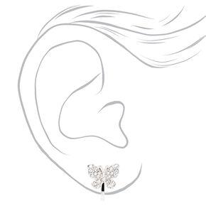 Clous d'oreilles à clip papillon ornementés variés couleur argentée - Lot de 3,