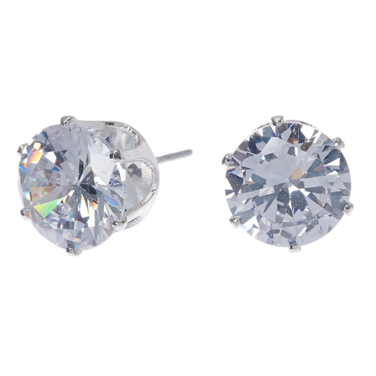 44216b817 Silver Cubic Zirconia 10MM Round Stud Earrings | Claire's US