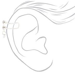 Silver Faux Crystal Double Row Ear Cuff Earring,