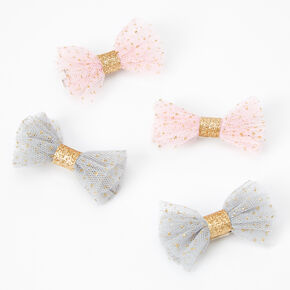 Claire's Club Tulle Hair Bow Clips - 4 Pack,