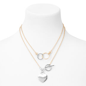 Mixed Metal Toggle Heart Charm Necklace,