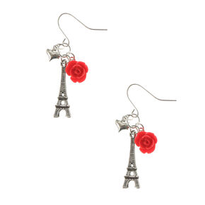 Carved Rose Eiffel Tower Drop Earrings - Red,