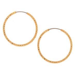 Gold 25MM Sandblast Textured Hoop Earrings,