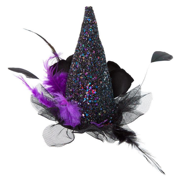 Glitter Witch Hat Hair Clip Fascinator - Black  d3345a70a81