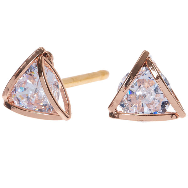 Claire's - rose cubic zirconia 8mm round geometric stud earrings - 1