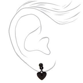 Mixed Metal Dangly Heart Stud Earrings - 3 Pack,