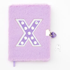 Giant Initial Furry Lock Diary - X,