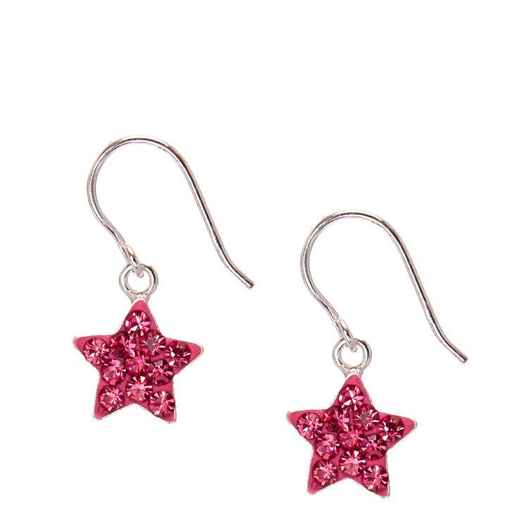 8c9dc53c23de Sterling Silver Hot Pink Crystal Star Earrings