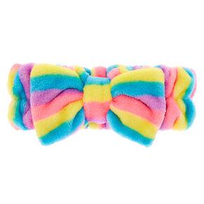 Rainbow Striped Makeup Bow Headwrap,