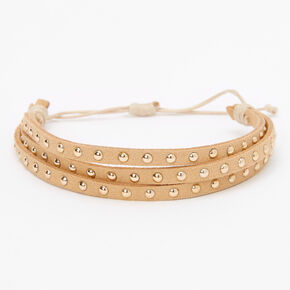 Gold Studded Adjustable Bracelet - Beige,