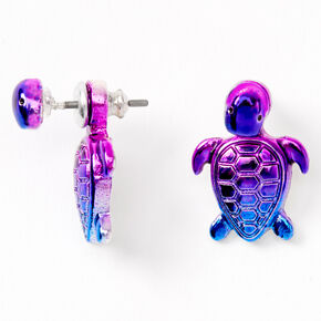 Anodized Rainbow Turtle Ear Jacket Earrings,
