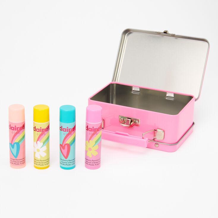 Claire's Club Rainbow Kitty Bling Lip Balm Set & Tin Box - 4 Pack,
