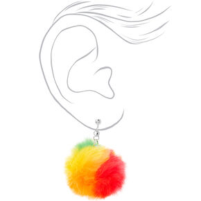 "Silver 1.5"" Rainbow Pom Pom Clip On Drop Earrings,"
