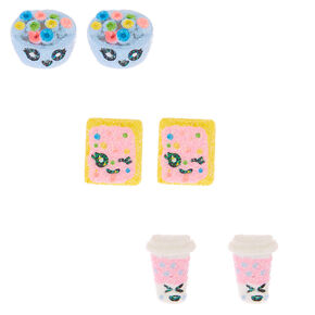 Glitter Breakfast Stud Earrings - 3 Pack,