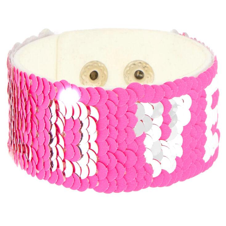 Pink Reversible Sequin Love Bracelet