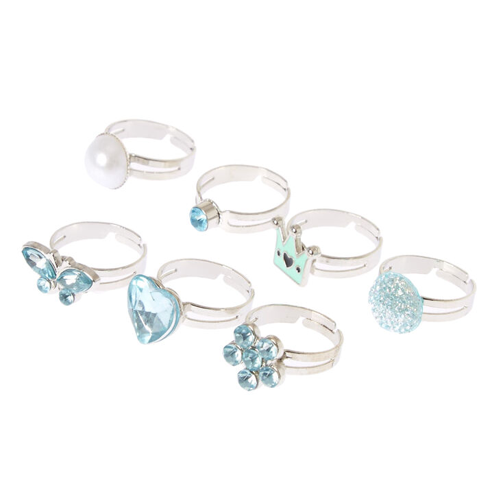 Claire's Club Ring Set - Mint, 7 Pack,