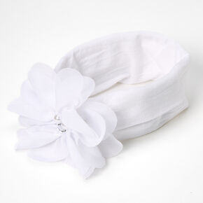 Claire's Club Chiffon Flower Headwrap - White,