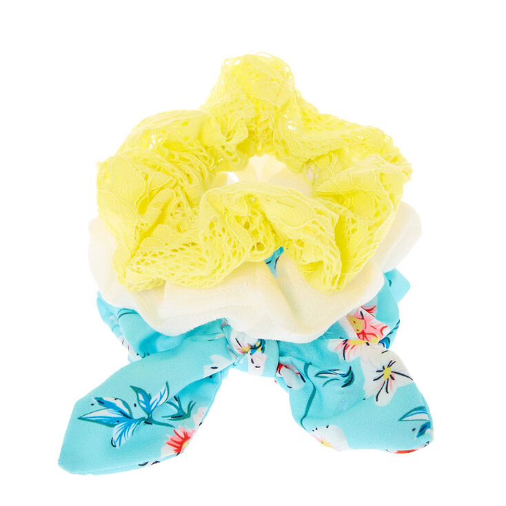 Small Mint & Yellow Floral Lace Hair Scrunchies - 3 Pack,